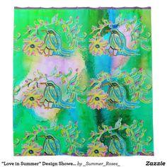 """Love in Summer"" Design Shower Curtain©2016CAT Shower Curtain"