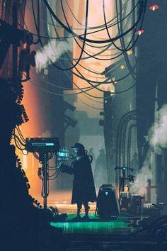 Sci-fi Scene Of Robot Using Futuristic Computer In City Street Stock Illustration - Illustration of robotic, alley: 62341606 80s Sci Fi, City Illustration, Portrait Illustration, Futuristic City, Cyberpunk Art, Thing 1, Environment Concept Art, Free Vector Art, Vector Graphics