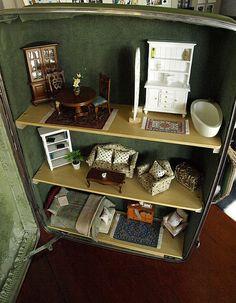 Suitcase Dollhouse Vintage Suitcase Upcycled by SuitcaseDollhouse
