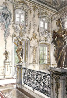 """""""Peterhof Palace - Merchant staircase at the Grand Palace"""" by Alexandre Benois, 1900"""