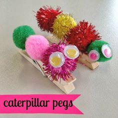 caterpillar pegs - minibeast actvities theme