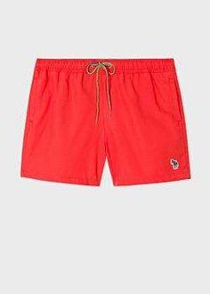 Paul Smith Men's Red Zebra Logo Swim Shorts Red Swim Trunks, Paul Smith, Swim Shorts, Swimming, Logo, Swimwear, Clothes, Fashion, Swim