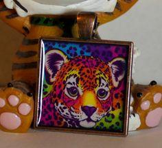 Lisa Frank  Cheetah Cat Square metal Pendant by GreyGyrl on Etsy, $8.00