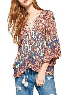 Women's Vintage Floral Print Flounce Sleeve Lace-up Front Blouse OASAP.com