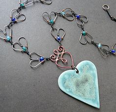 Aqua heart - copper wire and...  from RoundRabbit
