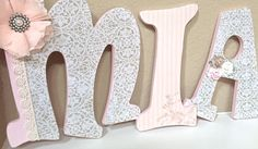 Custom Nursery Letters Baby Name Hanging Wooden por TheRuggedPearl