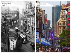 Shanghai's world famous shopping street East Nanjing Road in 1920 and today. A transition from one of Shanghai's main roads to one of the most famous shopping miles in the world.