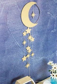 Eid Crafts, Ramadan Crafts, Diy Home Crafts, Decor Crafts, Diy Nursery Decor, Baby Decor, Diy Wall Decor, Wall Hanging Crafts, Diy Hanging