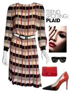 """Plaid"" by kotnourka ❤ liked on Polyvore featuring Bill Blass, Chanel, contestentry and NYFWPlaid"