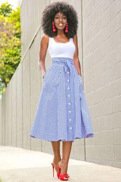 fd4f1861d6 White Bodysuit + Gingham Midi Skirt (Style Pantry)