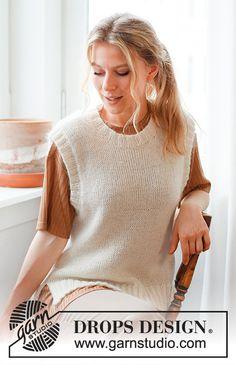 Drops Design, Knitting Patterns Free, Free Knitting, Drops Kid Silk, Magazine Drops, Cast Off, Crochet Diagram, Work Tops, Knit Vest