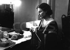 18 May 1936, London, England, UK --- Norwegian soprano opera singer Kirsten Flagstad knits in her dressing room at Covent Garden before her debut at the Royal Opera House. --- Image by ? Hulton-Deutsch Collection/CORBIS
