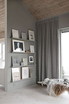 gray walls and shelves!