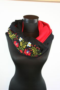 Woman infinity scarf - circle scarf - loop scarf -  hand embroidered - hungarian matyo embroidery - black red - made to order by MatyoKid on Etsy