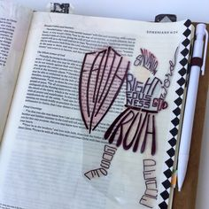 Put on the armour of God - Bible journaling Faith Bible, My Bible, Bible Art, Bible Scriptures, Bible Drawing, Bible Doodling, Bible Study Journal, Scripture Study, Scripture Doodle