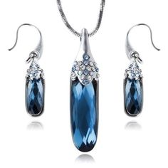 Arinna 4.3X2 Inch Chic Sapphire Fashion Earrings Necklace Set 18K Wgp Swarovski Elements Crystal Arinna. $37.98