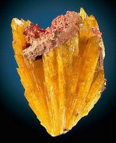 Monoclinic prismatic Legrandite crystals with Limonite matrix From the Ojuela Mine in Mapimi, Durango, Mexico - Zn2(AsO4)(OH)•(H2O)