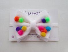 Felt Pompom Headband  white felt bow  rainbow pompoms