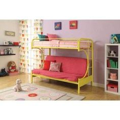 Kids, Toddlers,Teens Twin-Over-Full Futon Steel Metal Bunk Bed Childrens Bedroom Furniture