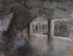 Josef Bolf, Under the Stairs, 2012, Oil, acrylic and ink on cavas, 160 x 205cm, Courtesy Galerie Dukan