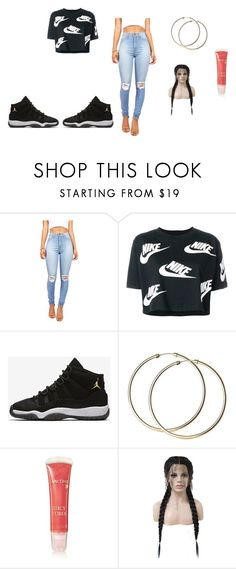 street outfit by sandramilfort on Polyvore featuring NIKE, WithChic and Lancôme