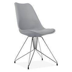 Eames Inspired Cool Grey Dining Chair With Geometric Legs | Cult UK