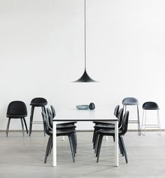 Y! Table by Henning Larsen Architects, Semi Pendant, Gubi Chair and Gubi Stool // Gubi