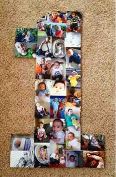 DIY: Large Number Birthday Collage for Ben's First Birthday!