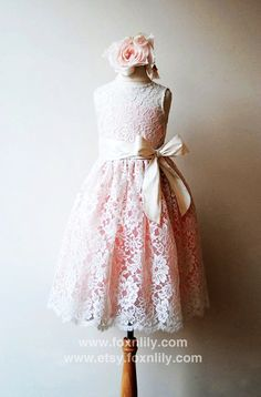 90d162168 Ivory Lace Dress with Pink lining,