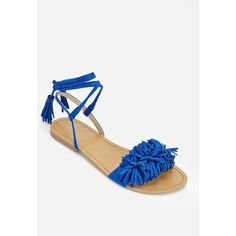 Justfab Flat Sandals Tabetta ($40) ❤ liked on Polyvore featuring shoes, sandals, blue, blue platform sandals, flat platform sandals, blue strappy sandals, strappy platform sandals and justfab shoes