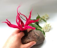 Blooming felted ring