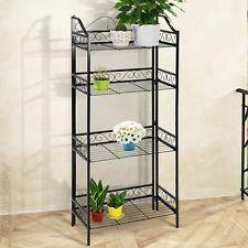 Metal Plant Stand Shelf 4 Tier Garden Home Patio Bakers Rack Pots Storage  New