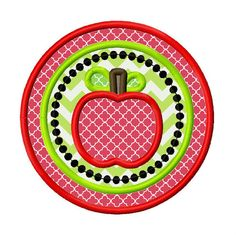 Apple Circle Applique Embroidery Design 4x4 5x5 by AppliqueCandy