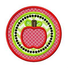 Apple Circle Applique Embroidery Design 4x4 5x5 by AppliqueCandy