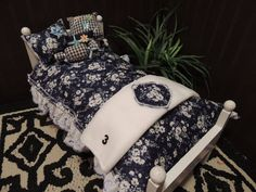 AMERICAN GIRL DOLL Bedding 8 piece Handmade Beautiful. --Clearance- Dark Blue on Etsy, $20.00