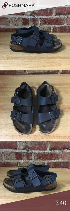 Women's Birkenstock sandals w/ back strap navy 8.5 Used but still good condition. Super cute and stylish. Be sure to check out the rest of my closet for other name brand items at the best prices. Bundles of two or more items are 15% off. 7.1010.28.85.1 Birkenstock Shoes Sandals