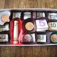 Box of chocolates money gift. This would be a great idea for the difficult to shop for teenager - cash, but in a cool, fun, more personalized way!