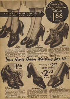 Oh time machine, where are you? At less than two dollars a pair, I want to stock up on fifty pairs of this classically gorgeous mid-30s heels! :)