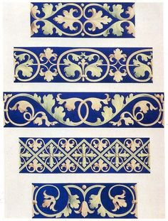 Foliate decorative borders century by Design Decoration Craft - I can so paint these into trim. Border Pattern, Pattern Art, Pattern Design, Decor Crafts, Art Decor, Decoration, Azulejos Art Nouveau, Motif Arabesque, Medieval Embroidery