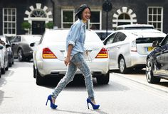 tiffany hsu + denim on denim + ripped denim jean + denim shirt + blue velvet pumps