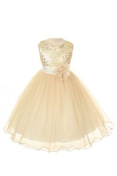 Sequin Bodice Tulle Special Occasion Holiday Flower Girl Dress - Gold 4 Color: Gold Size: 3-4 NewBorn, Kid, Child, Childern, Infant, Baby  - Click image twice for more info - See a larger selection of little girl special ocassion dresses at http://girlsdressgallery.com/product-category/special-occasion-dresses/- kids, toddler, kids dresses, little girls, dress, gown, little girls fashion, gift ideas, flower girl, wedding, party dress