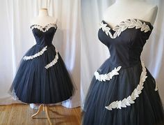 Stunning 1950's black strapless sweetheart formal by wearitagain, $298.00