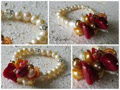 Pulsera de perlas acompañada de un racimo de perlas de colores y corales naturales...