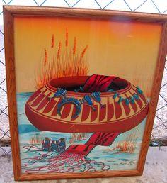 Vintage Original Painting Native American Wall Art Décor Tribal Southwest Jacky Black kK
