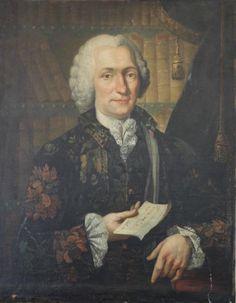 Portrait d'un gentilhomme tenant une lettre, dans une bibliothèque, école française du XVIIIe siècle