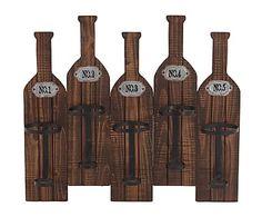 Botellero de pared en metal y madera Bottles, marrón - 60x52 cm