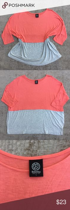 "Bobeau Color Block Oversized Top Excellent Condition!   Really comfy oversized Bobeau color block top in peach and gray. Perfect for summer and leggings!   Measurements:  Length 26"" Pit to Pit 29"" Sleeve 8""  Pls send offers 🌹 bobeau Tops"