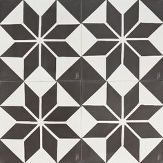 Black Star Reproduction Tile by Jatana Interiors. A black and white tile with big, black stars that centre the tile and diamond shapes to compliment. Black Star for any interior. Black And White Quilts, Black And White Stars, Black Star, Big Black, Stencil Patterns, Tile Patterns, Textures Patterns, Hearth Tiles, Art Deco Bathroom