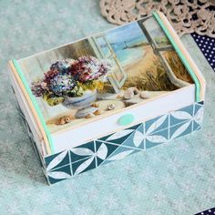 Pudełko drewniane - Widok na morze Key Box, Decoupage, Decorative Boxes, Sweet Home, Romantic, Wreaths, Candles, Rustic, Pillows