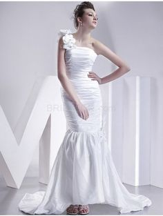 White One Shoulder Taffeta Satin Silk Mermaid Trumpet Wedding Gown